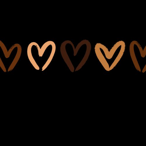 Vector illustration of grunge brush hearts of different chocolate colors.